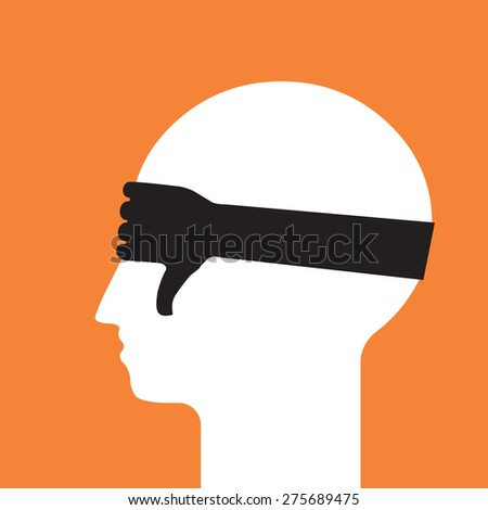 blinded  unconditional denial  - stock vector
