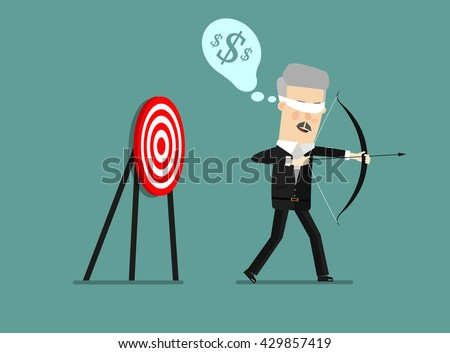 Blindfold businessman holding bow and arrow look for target in wrong direction. Business concept cartoon illustration. - stock vector