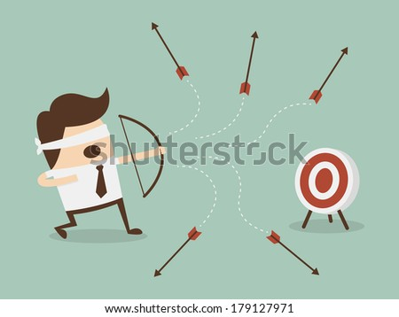 Blindfold businessman shooting arrow  - stock vector
