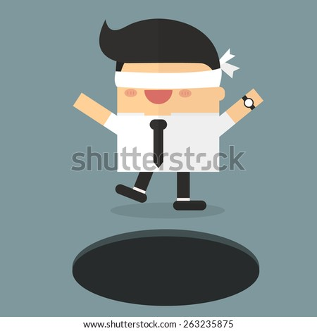 Blindfolded businessman walking into the hole - stock vector