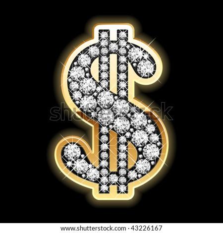 Bling-bling. Dollar symbol in diamonds. Vector. - stock vector