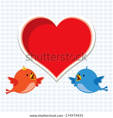 Blissful. Vector of little love birds with hearts. Happy Valentine's day! - stock vector