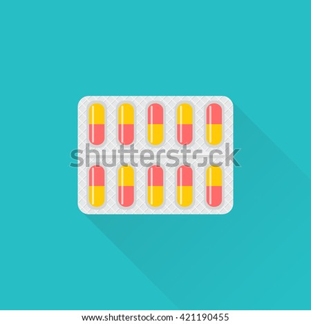 Blister pack of pills. Blister tablets. Healthcare concept. Capsule packaging. Vector illustration flat design. Medications. Accessory pharmacies and first aid kits. - stock vector