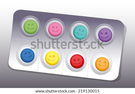 Blister with eight colorful smiling pills. Vector illustration. - stock vector