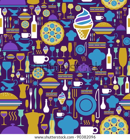 Block colors gourmet icon set seamless pattern background. Vector file available. - stock vector