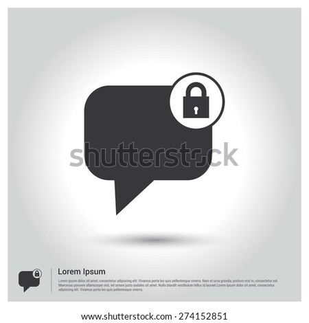 Block Member to Chat Icon, Flat pictogram Icon design gray background. Vector illustration. - stock vector
