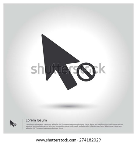 Block mouse Pointer Icon, Flat pictograph Icon design gray background. Vector illustration. - stock vector