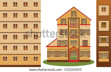 Block Tower and Block House - stock vector