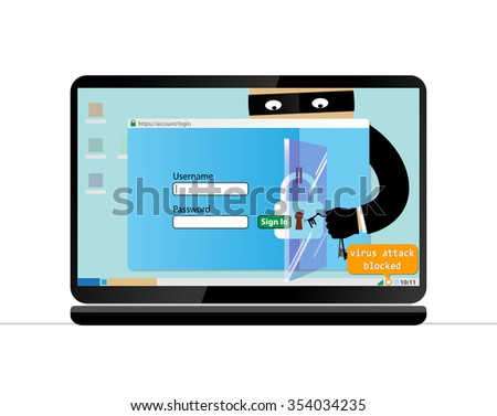 Blocking a virus attack.Hacker breaks into computer. Cyber attacker trying to hack computer. Vector concept abstract illustration. Isolated on white background. - stock vector