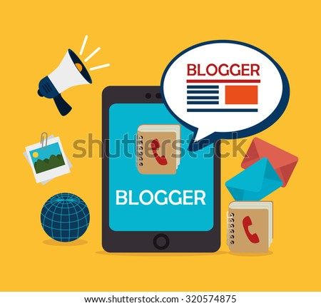 Blog and blogger social media design, vector illustration.