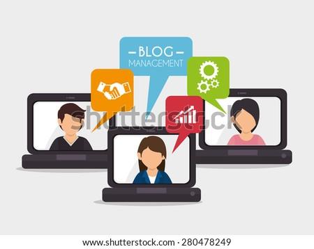 Blog design over white background, vector illustration. - stock vector