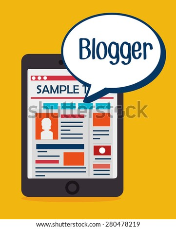 Blog design over yellow background, vector illustration.