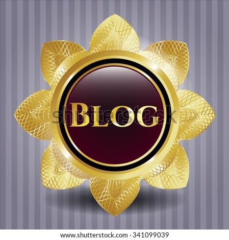 Blog gold shiny emblem - stock vector