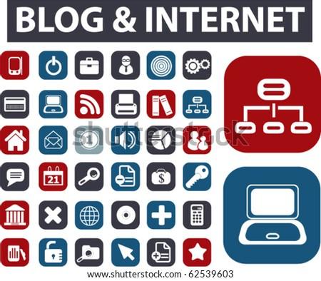 blog & internet buttons. vector - stock vector