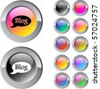 Blog multicolor glossy round web buttons. - stock vector