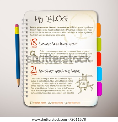 Blog web site template - Open notepad with colorful bookmarks - stock vector