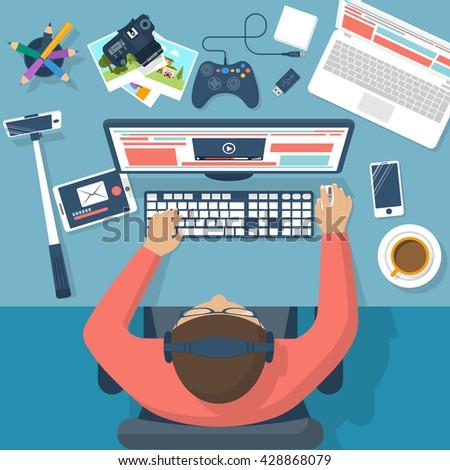 Blogger at the desktop, working process. Equipment blogger. Vector illustration flat design. Working designer at a computer. Concept blogging. Digital design. Work on Internet. Shares information. - stock vector