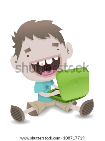 Blogger Boy - stock vector