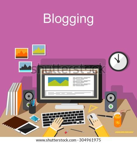 Blogging concept illustration. Flat design. - stock vector