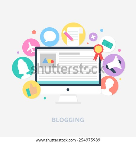 Blogging concept vector illustration, flat style - stock vector