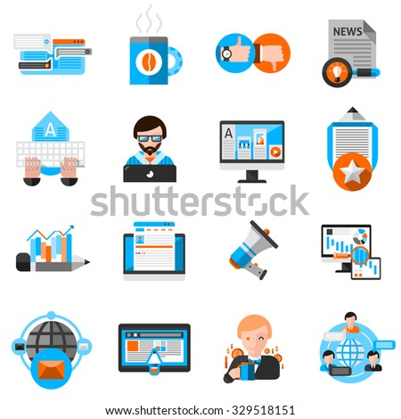 Blogging icons set with laptop coffee and communication symbols flat isolated vector illustration  - stock vector