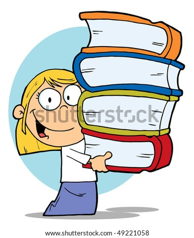 Blond Caucasian School Girl Carrying A Stack Of Books - stock vector