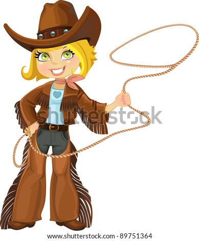 Blond cowgirl with Lasso - stock vector