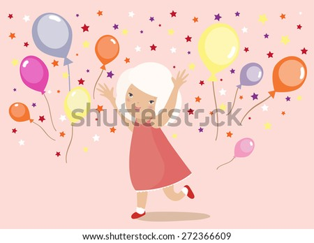 Blond little girl in red dress playing with colorful balloons and confetti - stock vector
