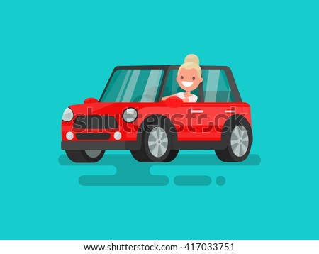 Blonde driving a car. Vector illustration - stock vector