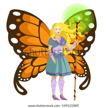 blonde fairy with buttefly wings and magic staff