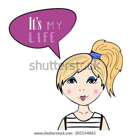 Blonde girl. Hand drawn vector illustration - stock vector