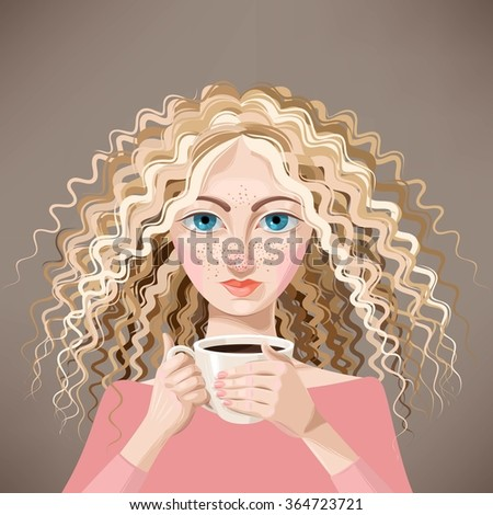 Blonde girl with coffee - stock vector