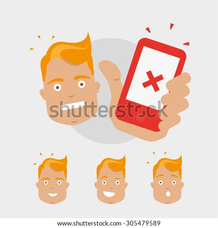 Blonde man character hold ringing telephone - stock vector