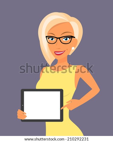 Blonde woman showing something displayed on tablet pc. - stock vector