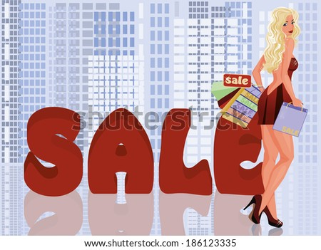 Blonde woman with shopping bags, vector illustration - stock vector
