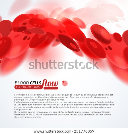Blood cells flow medical background - stock vector