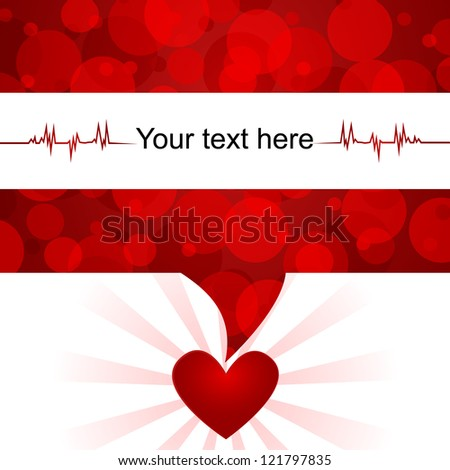 Blood donation background/Text bubble with abstract blood-cells,heart and space for text - stock vector