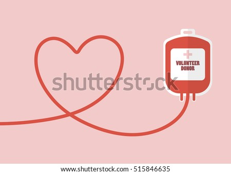 Blood donation bag with tube shaped as a heart. Flat style vector illustration