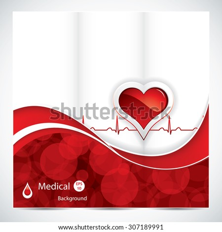 Blood donation brochure design with heart and blood drop.Medical vector - stock vector