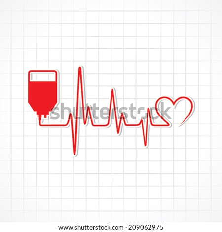 Blood Donation concept with heartbeat stock vector - stock vector
