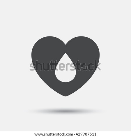Blood donation sign icon. Medical donation. Heart with blood drop. Flat blood web icon on white background. Vector - stock vector