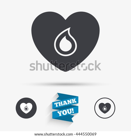 Blood donation sign icon. Medical donation. Heart with blood drop. Flat icons. Buttons with icons. Thank you ribbon. Vector - stock vector