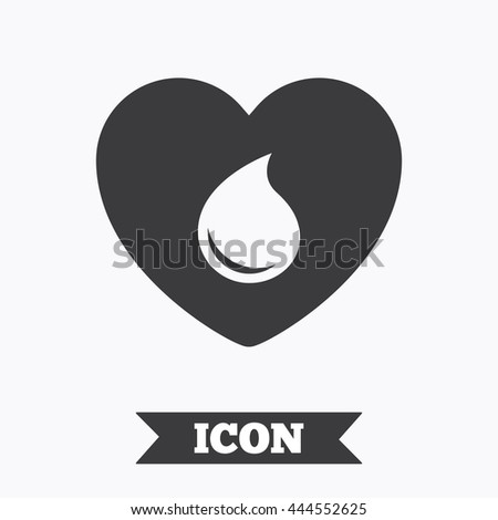 Blood donation sign icon. Medical donation. Heart with blood drop. Graphic design element. Flat blood symbol on white background. Vector - stock vector