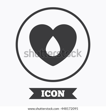 Blood donation sign icon. Medical donation. Heart with blood drop. Graphic design element. Flat symbol in circle button. Vector - stock vector