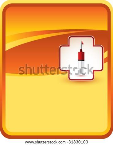 blood donation syringe on gold background - stock vector