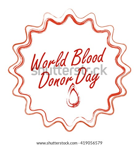 Blood donation - vector logo badges. World blood donor day - 14 June. Blood drop illustration. Medical Blood Donation. Vector logo template. Sign of Help and thank the people