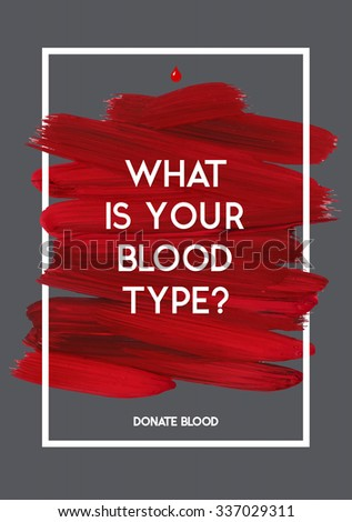 Blood Donor motivation information donor poster. Blood Donation. World Blood Donor Day banner. Red stroke and text. Medical design elements. Grunge texture. - stock vector