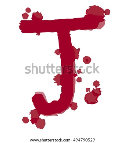 Blood font on white background.