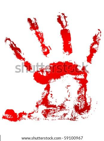 Blood handprint - stock vector