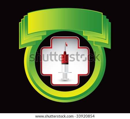 blood in syringe in green display on crest shaped display - stock vector